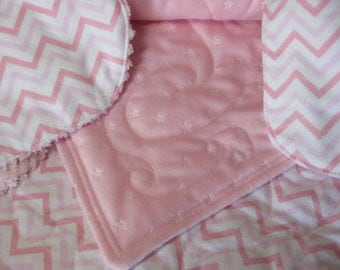 Baby girl gift set: pink quilted blanket, minky back, matching bib and burp cloth