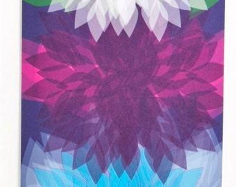 Bright colors dahlia greeting card, Design #3