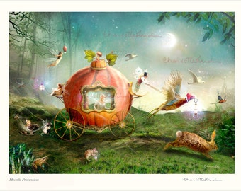 Cinderella Fairy Art Print...signed and titled' Moonlit Procession' select finish from drop down menu