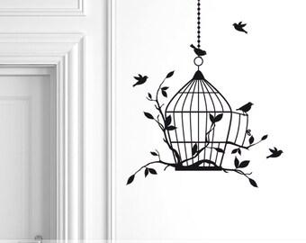 Birdcage Decal | Birdcage Wall Decal | Bird Cage Vinyl Wall Decal | Flying Birds Decal | Wall Decor | Bedroom Decor