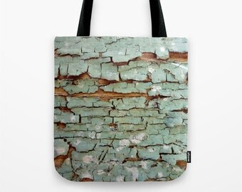Peeling Paint,  market bag, tote bag, robins egg, blue, brown, distressed, decayed, weathered, wood, crackle, rough textures, Lesvos Greece