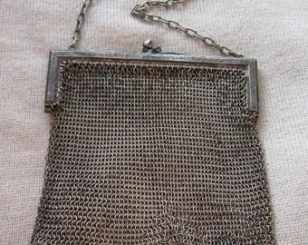 Antique Victorian Edwardian German Silver mesh evening purse handbag