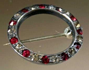 Brooch Sterling Silver Vintage Circle Hallmarked Clear and Ruby Spinels Small Heavy C Clasp 1940s Unique Exotic Classic Vintage