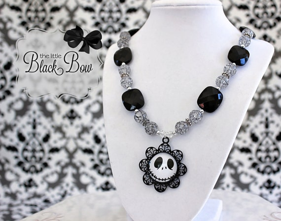 JACK SKELLINGTON Halloween Necklace, Nightmare Before Christmas Black, Silver Beads, Adult, Child, Toddler, Baby Size Beaded Necklace