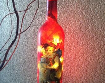 Wine Bottle Light, Decoupaged Wine Bottle, Little Boy, Night Light, Recycled Wine Bottle, Upcycled Wine Bottle. Home Decor, Cat.