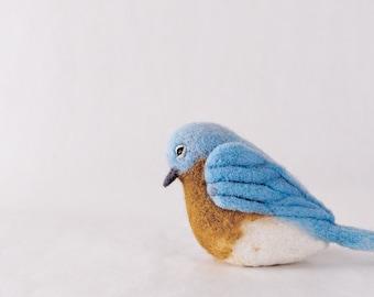 Needle Felted Bluebird // Bluebird Finger Puppet // Felted Bluebird // Felted Bird