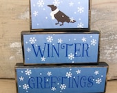 Wood Stacking Blocks,  Winter Greetings Stacking Blocks, Primitive Stacking Blocks