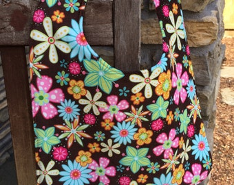TODDLER or NEWBORN Bib: Bright Tropical Flowers on Brown, Personalization Available