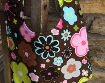 TODDLER or NEWBORN Bib: Flowers on Brown, Personalization Available