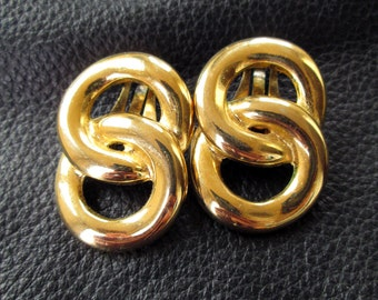 Chunky chain earrings, gold tone clip on earrings, vintage, 80s costume jewelry