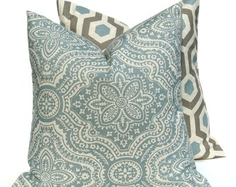 Decorative Pillows - Throw Pillow Covers - Pillows - Blue Pillow - Gray Pillow -Damask - Honeycomb- 18x18 pillow covers - accent pillow