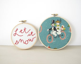 Let it Snow Winter Embroidery Hoop Wall Art, Holiday Home Decor, vintage snowman Christmas decoration candy cane winter red green teal snow