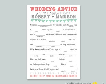 Wedding Advice Mad Libs - Pennant Banner