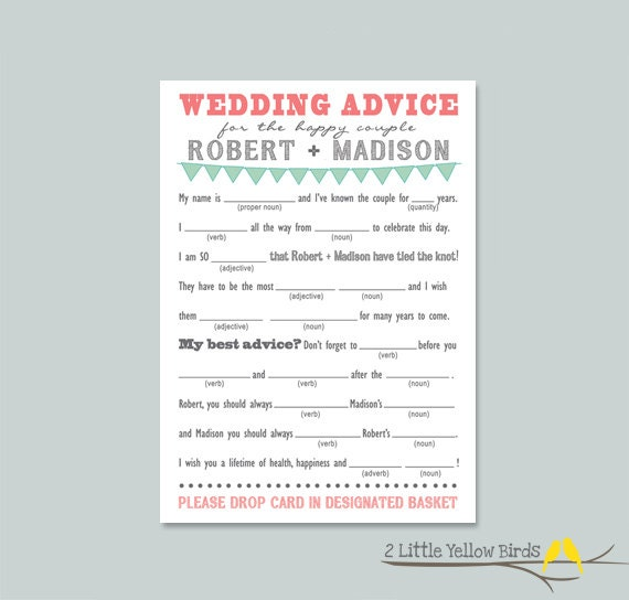 Wedding Advice Mad Libs - Pennant Banner