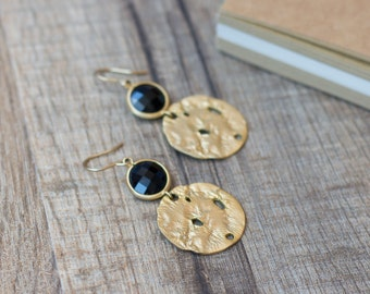 Black onyx gold earrings - gemstone earrings - dangle earrings - gold plated earrings - black, gold, onyx