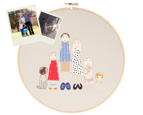 Custom family portrait of 6 - embroidered and appliqued - made to order by dandelyne
