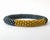 Mustard Yellow and Charcoal Grey Bead Crochet Bangle Bracelet
