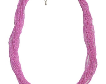 Neon Hot Pink Multi-Strand Seed Beads Necklace,Nepal, N106
