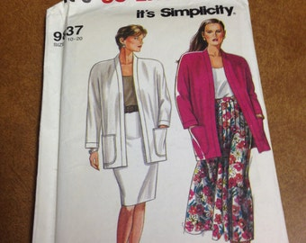 VINTAGE Simplicity Pattern (9837) - Pleated Skirt, Slim Skirt and Unlined Jacket - Sizes 10 -20