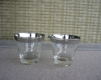 Vintage Silver Rim Glass Cream and Sugar Set, Mid Century Modern, Retro Entertaining
