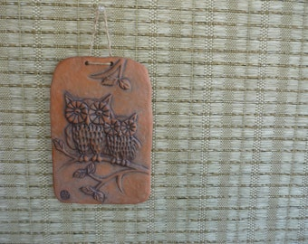 Vintage Ceramic Owl Wall Hanging, Retro Home Decor, Nature Inspired, Purdy Pottery, Canada
