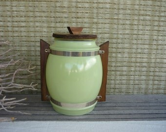 Vintage Siesta Ware Cookie Jar, Green Glass Storage Jar, Retro Storage Container,