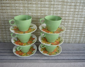 Set of Vintage Melamine Cup and Saucer Set, Mix and Match Melamine, Retro Camping