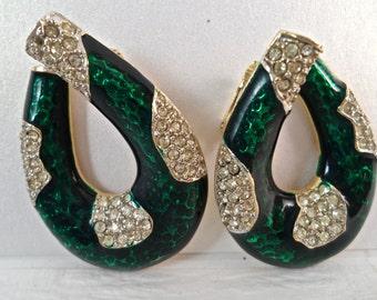 Vintage Kenneth J Lane Emerald Green Enamel and Rhinestone Horseshoe Clip Earrings 1960s Vintage Jewelry Signed Vintage Jewelry KJL Jewelry