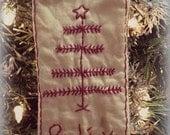 Believe tree stitchery tag ornament