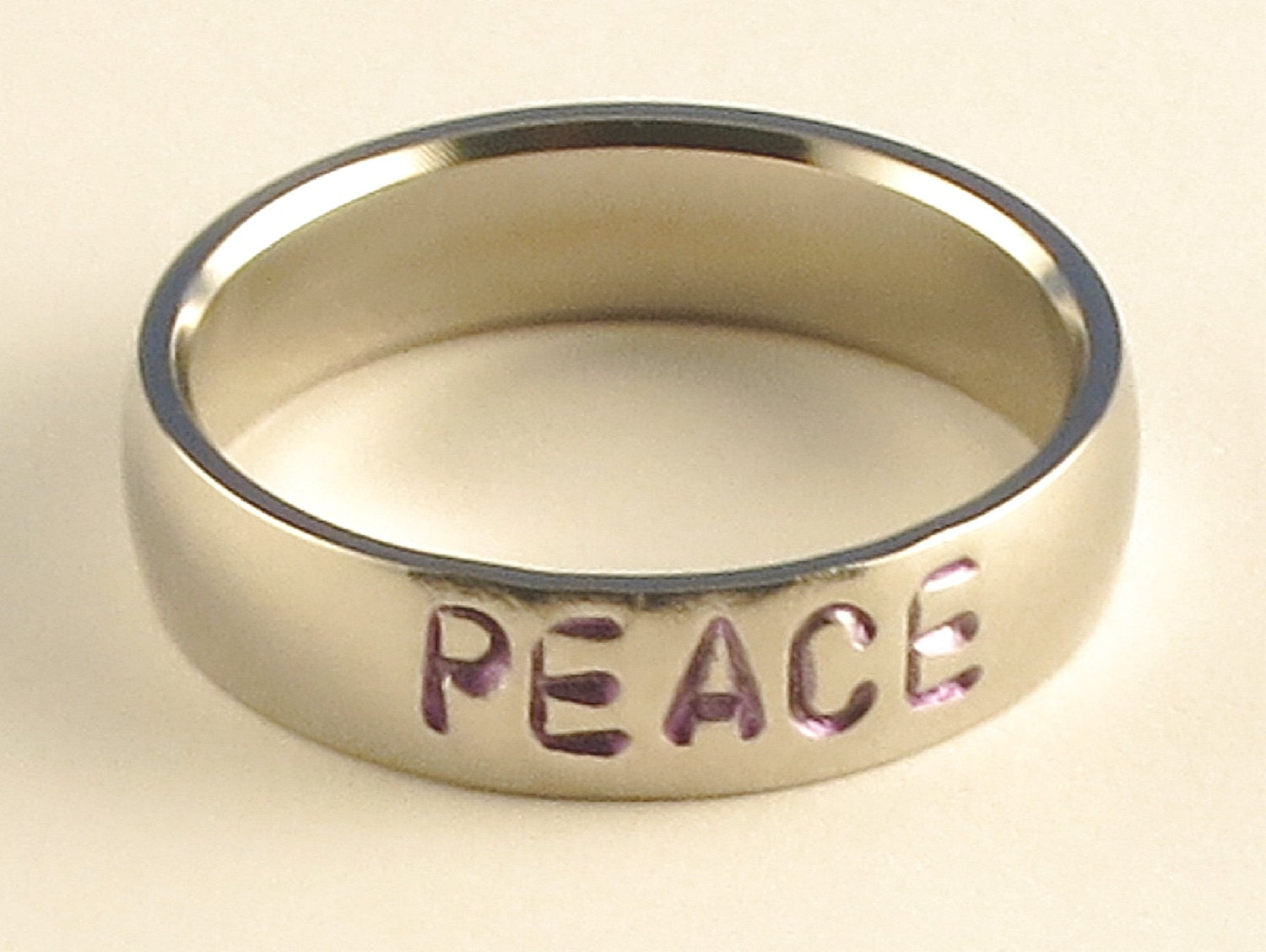 PEACE Personalized Hand Stamped Customized Stainless Steel Low Dome Name Ring 5mm