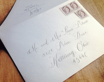 Wedding Calligraphy Envelope Addressing Hand Lettered by Calligrapher for Outer Envelopes in Scripted Font