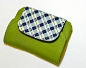 Zip & Go Mobile Phone Pouch Green, Blue Plaid, READY TO SHIP