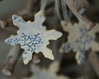 Snowflake Pottery Ornaments Lace Decoration White Blue Ceramic Ornament Set of 3 Wedding Gift