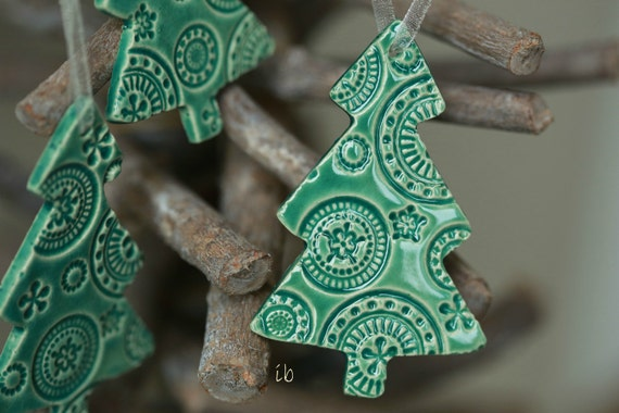 Christmas tree ornaments lace mint ceramic