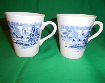 "Two (2), 3 3/4"" Coffee Mugs, from Wedgwood, in the Countryside Blue Pattern."