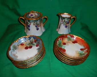 One (1), Antique, Hand Decorated, Porcelain, Sugar Bowl with Lid, and Matching Porcelain Creamer, with Ten (10) Porcelain Berry Bowls.