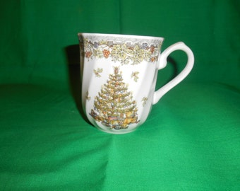 One (1),  Coffee Mug, from Queen's China. in the Season's Greetings Multicolored Pattern.
