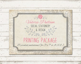 5X7 Professionally Press Printed Invitations - Printed on Cardstock - Quantity 15 - with envelopes