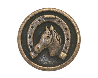 6 Dill Horse and Shoe 5/8 inch ( 15 mm ) Dill Metal Buttons Antique Brass Color