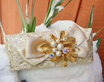 Eye Glass Case, Lisner Brooch, Champagne Bridal Satin & Lace OOAK One of a Kind