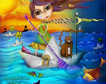 """Title: """"Flow""""  Inspirational colorful Giclee Art Print Boat Ocean"""