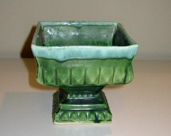 Vintage Green Pedestal Style USA Pottery Planter with Drip Glaze, 1950s