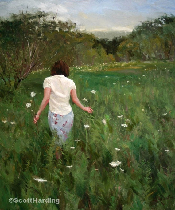 Queen Anne's Lace - 14 x 11 Matted Print - of original painting by Scott Harding of female figure walking through landscape of flowers