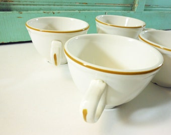 Homer Laughlin Best China Ironstone Diner Coffee Cups with Harvest Gold Detail Set of 4