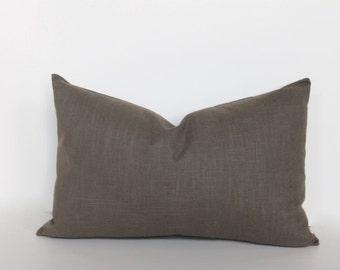 Olive brown pillow cover. Lumbar pillow cover.  Slub textured linen like lumbar pillow cover decorative sofa throw pillow home decor accent
