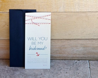 """Anchor & Twine """"Will You Be My Bridesmaid"""" Card with Envelope"""