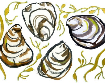 oysters & seaweed greeting card