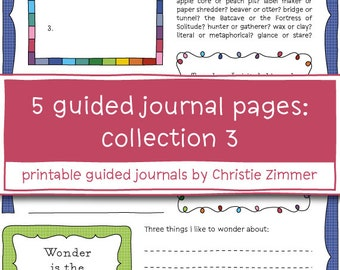 5 Printable Guided Journal Pages: Collection 3 - Four Seasons, What Lies Within, Magic Things, Beginning of Wisdom, Decisions, Decisions