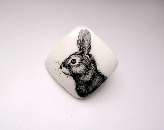 Animal Brooch Bunny Rabbit black and white, animal jewelry, woodland, miniature hand painting, square pin hare