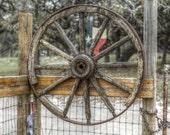 Wagon Wheel - fine art print, landscape photography, Texas, Hill Country, western, spring, Texas flag ,flag